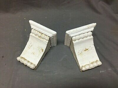 Small Pair Beaded Antique Wood Corbels Shabby Cottage Chic Vintage 54-20B