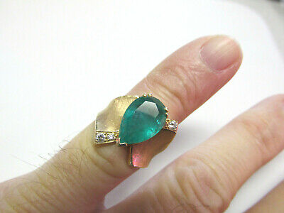 Beautiful Estate Large Colombian Emerald and Diamond Ring 14k Size 6  MAKE OFFER