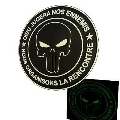glow dark DIEU JUGERA NOS ENNEMIS punisher PVC ALL armée ecusson hook patch