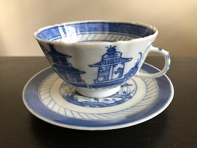 Antique Chinese Blue White Canton Export Porcelain Teacup Saucer Landscape Art
