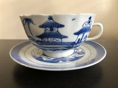 Antique Chinese Blue White Canton Export Porcelain Teacup Saucer Landscape Art B