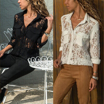 Women's Ladies Sexy Lace Long Sleeve Shirts Casual Loose Button Blouse Tops Size