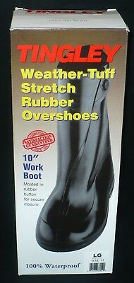 """Tingley Weather-Tuff Stretch Rubber Overshoes 10"""" Work Boot Size Large Black"""