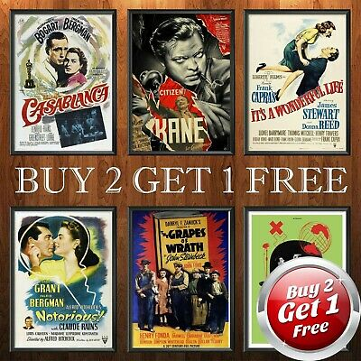 CLASSIC 1940s MOVIE POSTERS A4 A3 A3+ Size Film Art Print Home Decor Gift Idea