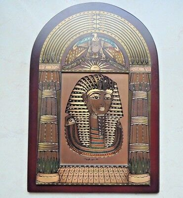Vintage Wood-Copper & Brass Wall Plaque Handmade Egyptian revival