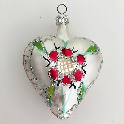 """Vintage Mercury Glass Puffy Heart Christmas Valentines Day Ornament Large 4"""""""