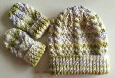 Hand Knitted Baby Aran Hat and Mitts, White/Multi, Age 6-12 months, BNWOT,
