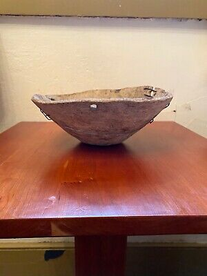 1800's Antique Primitive Small Hand Carved BURL Wood Bowl With Cool Repairs