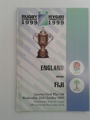 1999 RUGBY WORLD CUP QUARTER FINAL PLAY OFF - England v Fiji programme