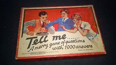 VINTAGE SPEARS GAME. `TELL ME` ORIGINAL BOX. METAL SPINNER + CARDS. 1950s