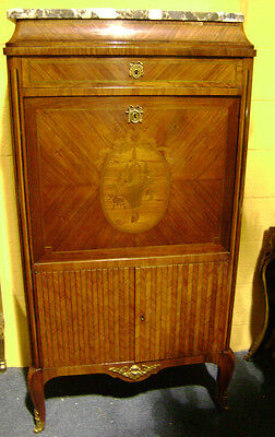 french 19th century secretaire  abbatant king wood marquetry brechia marble top