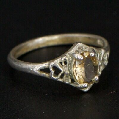 VTG Sterling Silver - ART DECO Citrine Solitaire Heart Pointed Ring Size 7 - 1g