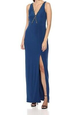 Adrianna Papell Women's Dress Blue US Size 14 Embellished Slit Gown $149- #050