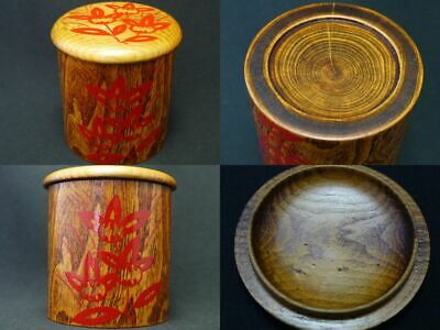 Japanese Lacquer Tree of IVY wooden Tea caddy Natsume Flower design on (1224)