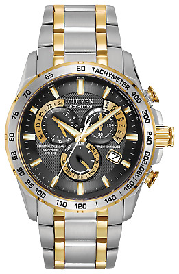 Citizen Eco-Drive Perpetual Chronograph 2 Tone Steel Men's Watch AT4004-52E 42mm