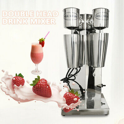 Commercial Stainless Steel Milk Shake Machine Double Head Drink Mixer 110V NEW