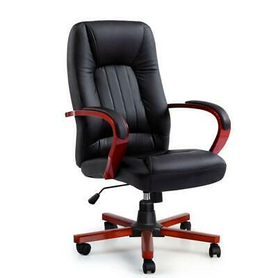 Artiss Executive Wooden Office Chair Wood Computer Chairs Leather Seat Semper, A