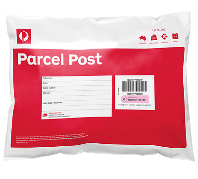 NEW Australia Post Pack of 10 x Parcel Post (Red) Satchels 1kg Prepaid Tracking!
