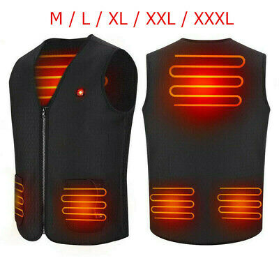 Electric Vest Heated Jacket USB Thermal Warm Up Heated Pad Winter Body Warmer UK