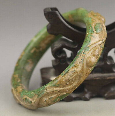 Old Chinese natural jade hand-carved flower bangle