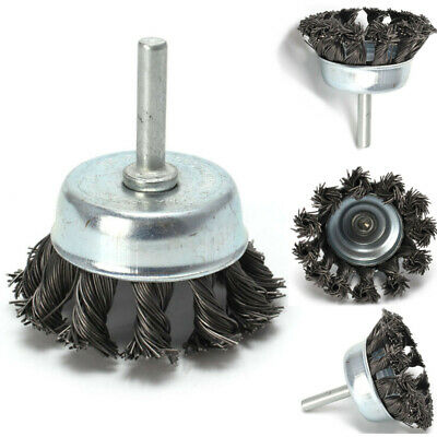 """Metal Wire Wheel Cup Brush Crimped W/ 1/4"""" Shank For Die Grinder Drill Supplies"""