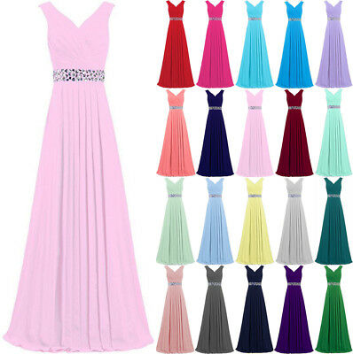 New Chiffon Formal Evening Bridesmaid Rhinestons Party Ball Prom Gown Dress 6-24