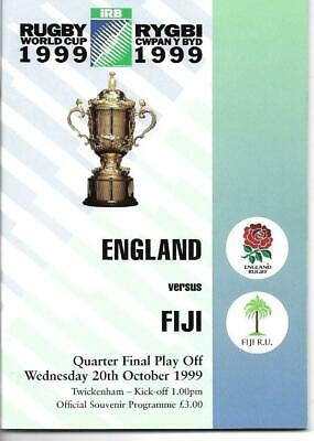 England Vs Fiji 1999 World Cup Quarter Final Play Off Rugby Union Programme
