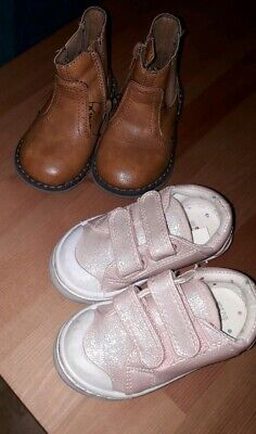Mothercare - Brown Chelsea Boot & F&F Pink Trainer Style Shoe - Size 4