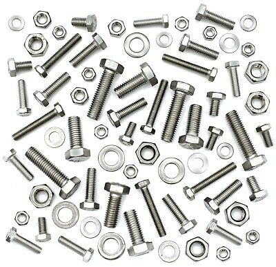 Mixed Stainless Steel A2 Fasteners Fully Threaded Bolts Full Nuts Form A Washers