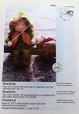 Chestnut crafting kit with instructions. Woolen felt, material, wool, felting