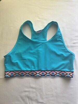Girls Age 13+ Years Swim Sports Top Blue Retro Trim  Design