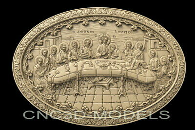 3D STL Model for CNC Router Artcam Carving Christ Religion Last Supper D132