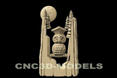 3D Model STL for CNC Router Carving Artcam Aspire Owl Tree Moon Animal D97