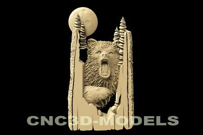 3D Model STL for CNC Router Carving Artcam Aspire Bear Bears Grizzly Animal D114