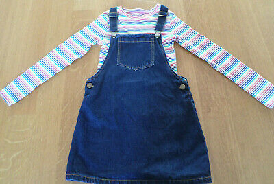 Girls NEXT Denim Blue Pinafore Dress Age 8 Years with coordinationg top