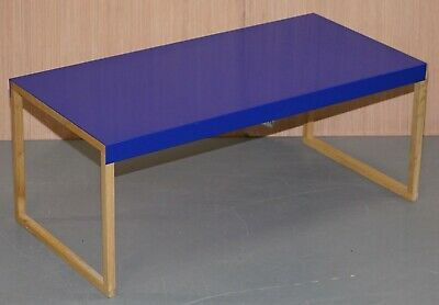 Lovely Small Habitat Kilo Royal Blue Metal Coffee Table With Wooded Legs
