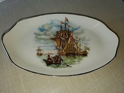 Made In Scotland West Highland Pottery Co. LTD. Warships DISH or PLATE VINTAGE