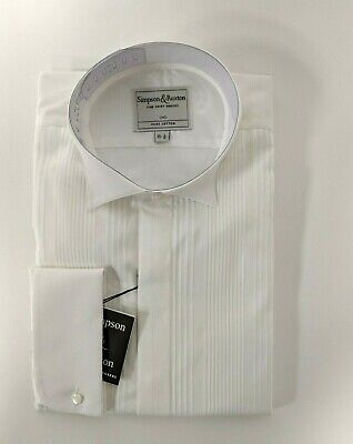 Simpson & Ruxton White Slim Fit Wing Collar Evening Dinner Dress Shirts
