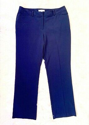 CHICOS Womens Navy Blue Straight Leg Dress Pants Trousers Sz 2.5 14