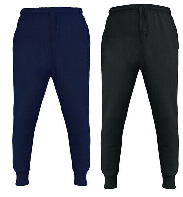 Boys Kids Plain Basic PE School Jogging Sports Navy Bottoms Joggers Fleece 1-12