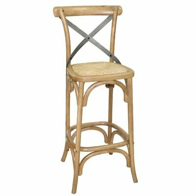Bolero Wooden Bar Stool with Backrest Oak Frame in Natural Finish 1100x450x470mm