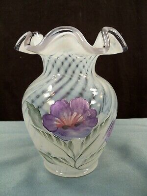 Fenton French Opalescent Glass Spiral Optic Hand Painted  Vase Purple Flowers