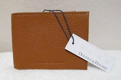 MSRP $138 FRYE Mens Light Brown Distressed Leather Bifold Bill 8cc Wallet