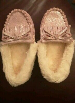 Baby Toddler Girls Sparkly Pink Cream M&S Moccasin Slippers Fur Size 6 BNWT
