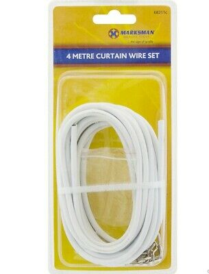 4M Expanding Curtain Wire Hooks Complete Set For Net Curtain Windows & Doors