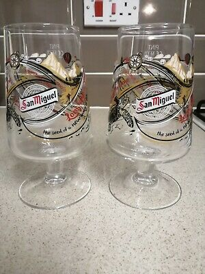 San Miguel 2017 Limited Edition Decorated Chalice Pint Glass x2