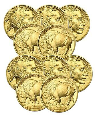 Lot of 10 Gold 2020 American Buffalo $50 Gold 1oz Coins BANK WIRE Payment Only