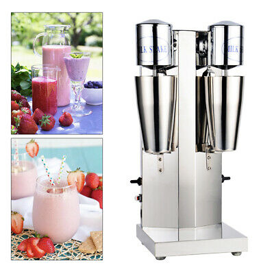 Stainless Steel Commercial Milk Shake Machine Double Head Drink Mixer 110V NEW