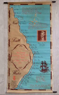 Vintage 1970 Australia Discovery MAP Screen Printed Silk Poster- Capt Cook 1770