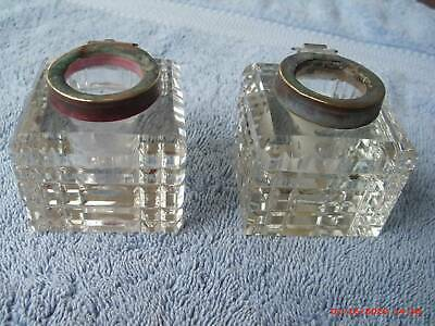 Two Antique Crystal Ink Wells, Red And Black Ink, No Caps, Good Cond
